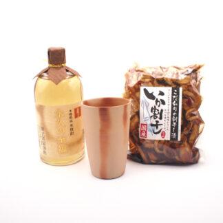 岡山県産焼酎と漬物と備前焼のセット商品